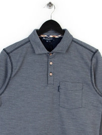 Aquascutum Milton Long Sleeve Pique Polo Navy