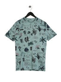 Only & Sons Dimas Slub AOP Short Sleeve Crew Neck  T-Shirt Green