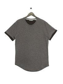 Only & Sons Tam Short Sleeve Curved T-Shirt Grey