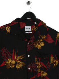 Only & Sons Teal Reg Resort Viscose Short Sleeve Shirt Black