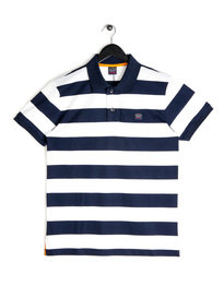 Paul & Shark Block Stripe Polo Navy