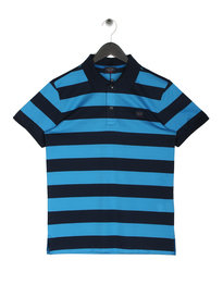 Paul & Shark Logo Stripe Polo Shirt Blue