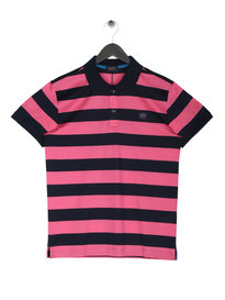 Paul & Shark Logo Stripe Polo Pink