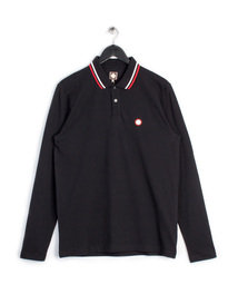 PRETTY GREEN MENS LS POLO BLACK