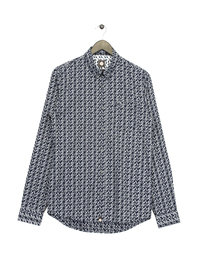 Pretty Green  AOP Paisley Long Sleeve Shirt Navy