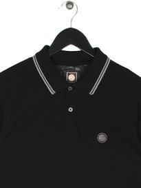 Pretty Green Barton Tipped Long Sleeve Polo Black