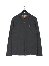 Pretty Green Barton Tipped Long Sleeve Polo Dark Grey
