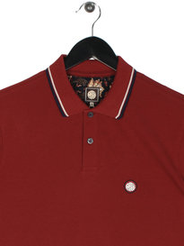 Pretty Green Barton Tipped Short Sleeve Polo Red
