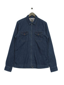 Pretty Green Blagrave FZ Denim Long Sleeve Overshirt Navy