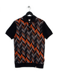 Pretty Green Chevron Knitted Polo Black