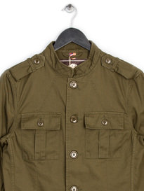 PRETTY GREEN COTTON LENNON JACKET GREEN
