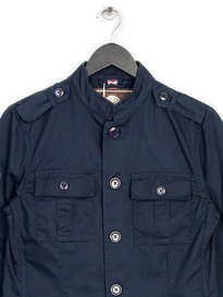 PRETTY GREEN COTTON LENNON JACKET NAVY