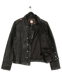 Pretty Green Delcott Leather Jacket Black