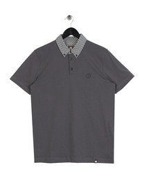 Pretty Green Diamond Print Collar Polo Shirt Grey