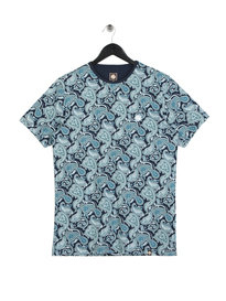 Pretty Green Jessop AOP Paisley T-Shirt Blue
