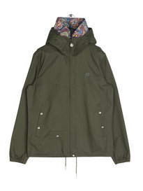 Pretty Green Mens Cotton Zip Up Hooded Jacket Khaki
