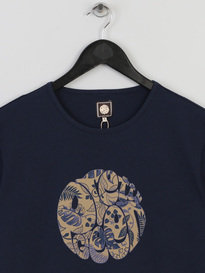 PRETTY GREEN MENS CRAWLEY LEAF LOGO TSHIRT NAVY