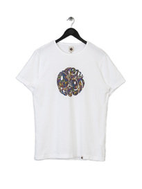 PRETTY GREEN MENS PAISLEY LOGO TEE WHITE