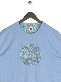 Pretty Green Mens Paisley Print Applique T-Shirt Blue