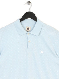 PRETTY GREEN MENS POLKA DOT POLO SKY BLUE