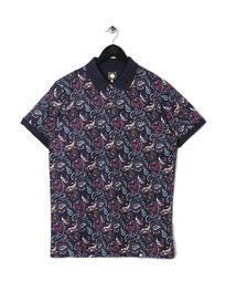 PRETTY GREEN MENS SEFTON PRINT POLO NAVY