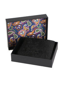 Pretty Green Paisley Leather Embossed Wallet Black