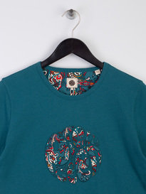 Pretty Green Paisley Print Applique T-Shirt Teal