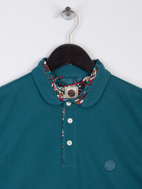 Pretty Green Paisley Print Collar Polo Shirt Teal