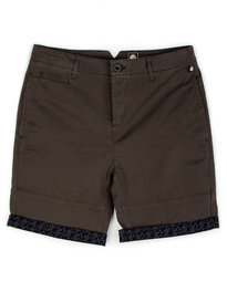 Pretty Green Paisley Turn Up Shorts Olive