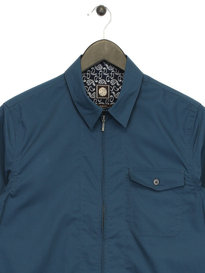 Pretty Green Long Sleeve Zip Shirt Blue