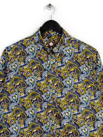 Pretty Green Stretford Aop Long Sleeve Shirt Navy