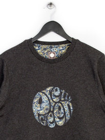 PRETTY GREEN STRETFORD APPLIQUE SWEAT TOP GREY
