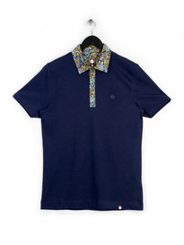 Pretty Green Stretford Paisley Collar Polo Shirt Navy