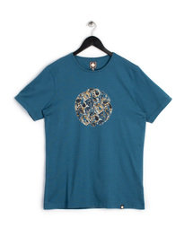 PRETTY GREEN STRETFORD PAISLEY LOGO T-SHIRT BLUE