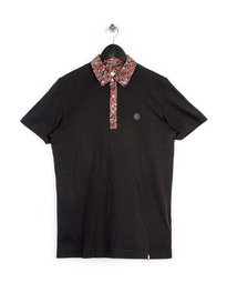 Pretty Green Turner Paisley Collar Polo Black