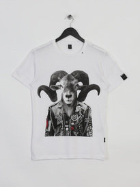 REPLAY BIKER GOAT TSHIRT WHITE
