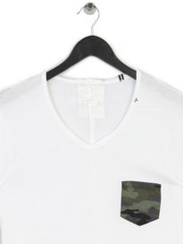 REPLAY CAMO POCKET T SHIRT 001 WHITE