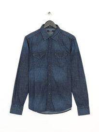 Replay Denim Long Sleeve Shirt Blue