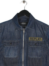 Replay Denim Zip Shirt Denim Camo