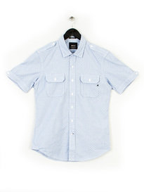 Replay Dot Short Sleeve Shirt Blue