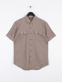 Replay Double Pocket Short Sleeve Linen Shirt Grey