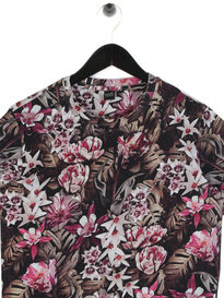 Replay Flower Print Short Sleeve Crew Neck T-Shirt Black