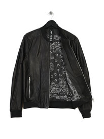 Replay Leather Bomber Jacket Black