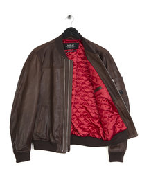 Replay Leather Double Zip Jacket Brown