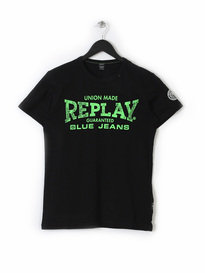 REPLAY LOGO PRINT T SHIRT 098  BLACK