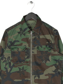 Replay Floral Camo Zip Shirt Green