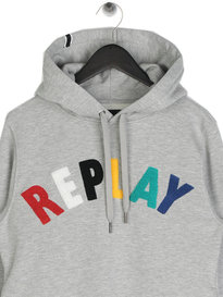 Replay MultiColour Logo Hoodie Grey