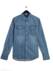 Replay Patch Pocket Long Sleeve Denim Shirt