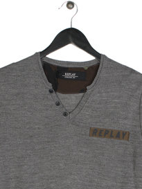 Replay UK1608 V Neck Knit Grey