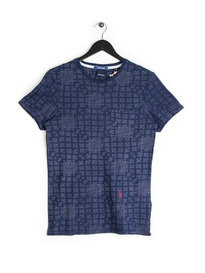 Scotch & Soda AMS Blauw All Print T-Shirt Navy